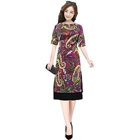 Áo dài nữ kèm chân váy khối màu SP2