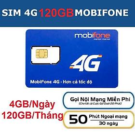 Sim 4G Mobifone C120 120GB - (4Gb/ngày, Gọi nội mạng miễn phí 1000p không giới hạn) -  Hàng chính hãng