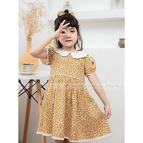 [Tặng nơ xinh kẹp tóc]Váy Cho Bé Gái Dáng Baby Doll Vintage Hoa Nhí Vàng Phối cổ Trắng Cho Bé Gái 1-10 Tuổi