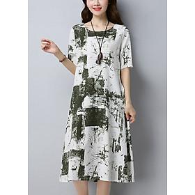 Đầm suông nữ dáng dài vải thô họa tiết, thời trang trung niên