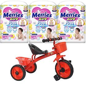 Combo 3 gói tã quần Merries cao cấp size M58/L44/XL38/XXL26 tặng xe ba bánh VBCare cho bé