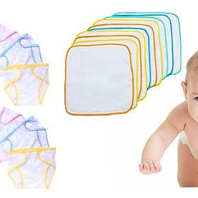 Combo 10 Tấm lót chống thấm + 5 Tả dán vải cao cấp - Tặng kèm 01 bịch giấy lót phân su cho bé