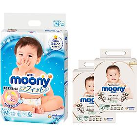Tã Dán Cao Cấp Moony Nhật Bản M64 - [Tặng 8 Miếng Moony Natural Cùng Size]