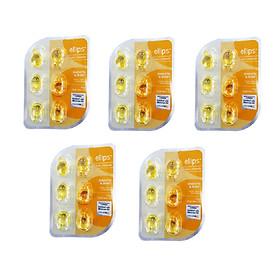 Combo 5 Vỉ 6 Viên Serum Vitamin Dưỡng Tóc Mềm Mượt Và Óng Ả Ellips Smooth & Shiny (Chăm sóc tóc và da đầu)