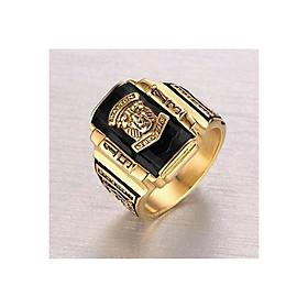 Nhẫn nam inox mạ vàng mặt đá sư tử cao cấp NN01