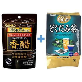 Combo Giấm đen hỗ trợ giảm cân Orihiro và Trà diếp cá thải độc Dokudami Orihiro Nhật Bản