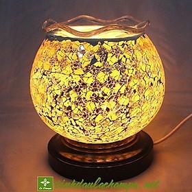 Đèn xông tinh dầu điện pha lê màu vàng cam TN26