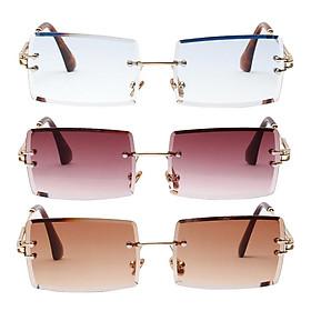 3 Pairs Ladies Rimless Sunglasses Retro Classic Tinted Lens Eyewear UV 400