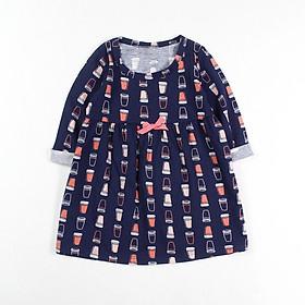 Đầm thun xoè tay dài đính nơ dệt hoa văn cho bé gái 1-5 tuổi từ 10 đến 20 kg 04874-04885