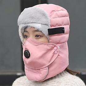 Mũ len kèm khăn mũ đi phượt mùa đông có kính che mặt