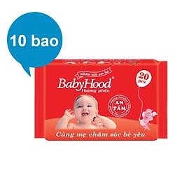 Combo 10 Gói Khăn Ướt Em Bé BabyHood Hương Phấn (20 Tờ x 10)