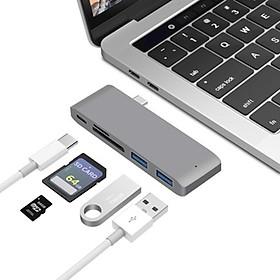 Hub chia USB Type-C 6 Cổng sang SD/TF/ USB 3.0 hỗ trợ sạc USB-C-US02-Hàng Chính Hãng