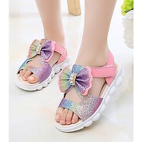 Dép sandal đính nơ phối màu dễ thương cho bé gái SD21