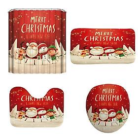 Christmas Snowman Santa Elk Pattern Bathroom Four-Piece 3D Digital Printing Multicolor Waterproof Bathroom Four-Piece