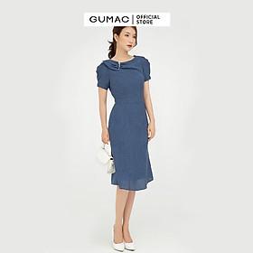 Đầm dáng ôm tay ngắn phụ kiện GUMAC DB618