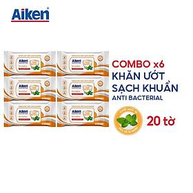 Aiken Combo 6 Gói Khăn Ướt Sạch Khuẩn Chiết Xuất Bạc Hà 20 Tờ/gói