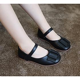 Giày bé gái 3 - 12 tuổi kiểu dáng búp bê màu đen sang chảnh GE49