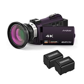 Máy Quay Video Wifi Kỹ Thuật Số Andoer Kèm 2 Pin (4K 1080P 48Mp) (0.39X)