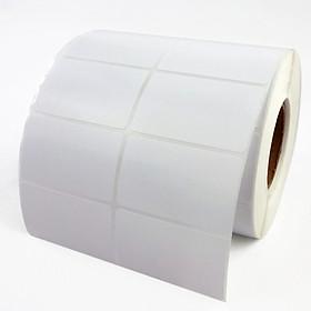 Thùng 30 cuộn Giấy decal nhiệt, in tem mã vạch 2 tem, 35x22mm, dài 30m