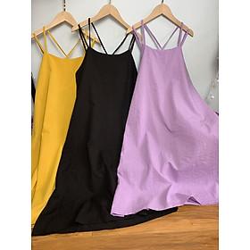 Váy suông 2 dây đi biển chất đũi xinh xắn