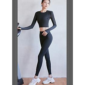 Bộ quần áo tập gym nữ dài Louro SE30, sét 2 món quần tập gym nữ trơn và áo tập gym nữ croptop dài tay
