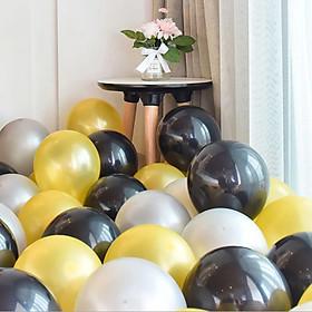 30 bong bóng trang trí tiệc tông màu đen - vàng - bạc