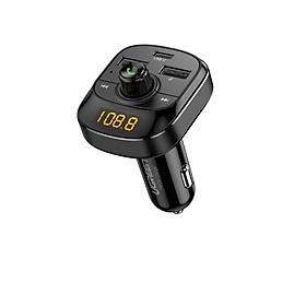 Bluetooth 5.0 FM Transmitter cổng sạc usb A và type C hỗ trợ QC PD màn hình LED có đọc thẻ TF màu đen dùng cho xe hơi Ugreen 040CHG70717ED Hàng chính hãng
