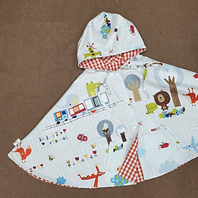 Áo khoác chống nắng 4 mùa mặc 2 mặt kiểu áo cánh dơi poncho cho bé trai bé gái mẫu gấu màu ghi cá tính cho bé từ sơ sinh đến 12 tuổi-1