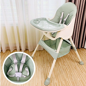 Ghế ăn dặm đa năng cao cấp thiết kế Hàn Quốc 7 chức năng, 2 nấc điều chỉnh độ cao UMOO, đệm bọc da cao cấp, hỗ trợ bé ăn dặm, giúp bé ngồi yên khi ăn - Hàng chính hãng (UM608)