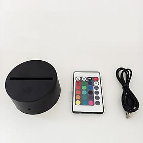 Đế Đèn LED 3D Có Điều Khiển Remote 16 Màu Đèn