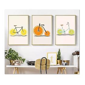 Bộ 3 tranh treo tường trên nền canvas xe đạp cam chanh dễ thương trang trí nhà bếp