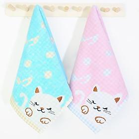 Xinya towel cotton cartoon alphabet children's towel cotton absorbent face towel wash towel 2 loaded powder / blue 25*49cm