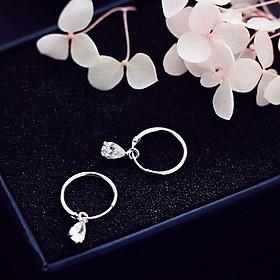 Khuyên tai bạc thả hạt nước bông tai nữ phong cách Hàn Quốc tặng ảnh Vcone