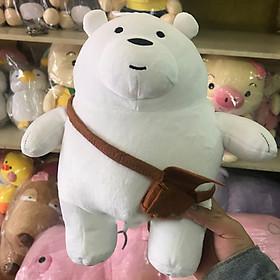 Gấu trúc we are bear màu trắng nhồi bông đeo cặp size 30cm