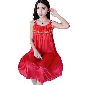 Đầm (Váy) ngủ nữ 2 dây phi lụa mềm mại thoáng mát co giãn JS-SX576 (Freesize)