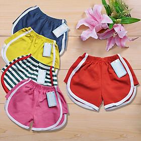 Combo 5 quần đùi thun bé gái nhiều màu cho bé từ 8kg đến 23kg, vải cotton 100% cao cấp 4 chiều,thoáng mát thấm hút mồ hôi, co dãn tốt cho bé thoải mái hoạt động ( Giao màu ngẫu nhiên )