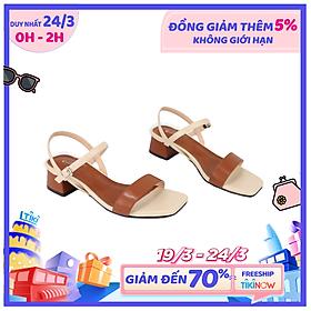Giày sandal nữ quai ngang phối màu cao 5cm Cillie 1220
