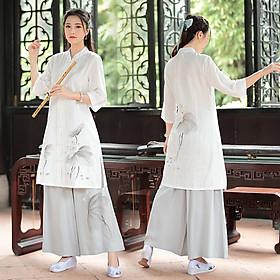Trang phục lam đi lễ chùa, tập thiền & yoga nữ cánh sen sơn dầu Thiền Chay