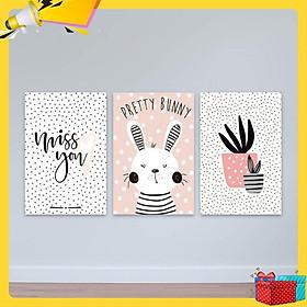 """Bộ 3 tranh Scandinavian """"Chú thỏ trắng dễ thương"""" W2245"""