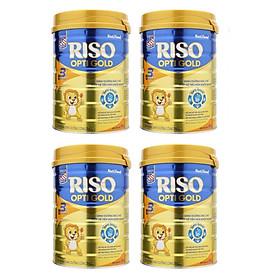 Bộ 4 Lon Sữa Bột NutiFood RISO OPTI GOLD 3 Lon 900g Cho Trẻ Từ 1-2 Tuổi