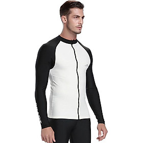 Men's Long-Sleeved Rashguard Top Split Swimsuit Zipper Spandex Surfing Floats Snorkeling Clothing