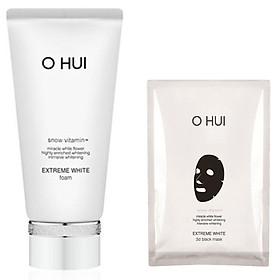 Combo Sữa rửa mặt dưỡng trắng OHUI Extreme White 160 ml và mặt nạ 3D White 27g