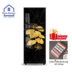 Decal dán tủ lạnh mẫu vân đá khảm hoa - Chất liệu chống nước, phù hợp với mọi loại tủ