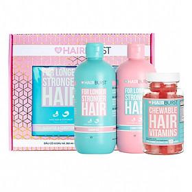 Combo Hairburst Set Gội Xả 350ml/Chai và Kẹo Dẻo Vitamin Kích Thích Mọc Tóc Chewable Hair Vitamins 60gr/lọ