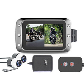 Motorcycle Recording Dash cam Dual 2 Channels Lens Front & Rear 1080P Driving Recorder with GPS 140° Wide Angle 3'' LCD,