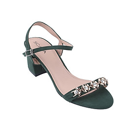 Giày Sandal Mũi Tròn Quai Trước Có Đính Hạt Gót Trụ Scala SCL 672 - Xanh Lá