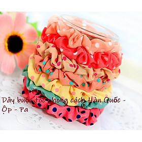 Combo 05 Dây buộc tóc  Cherry Scrunchies chấm Bi dễ thương Kèm vòng tay chỉ đỏ may mắn Thailand