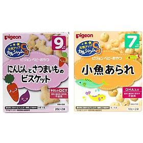 Combo bánh ăn dặm vị cá và vị cà rốt khoai lang Pigeon (Tặng Mẹ 1 mặt nạ Q10)