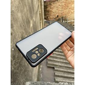 Ốp lưng cho Xiaomi Redmi Note 10, redmi Note 10 Pro nhám viền màu che camera (đen)