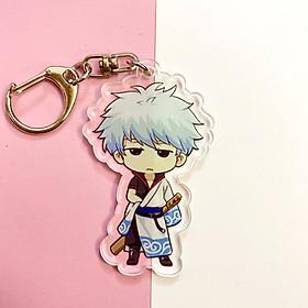 ( Mica trong acrylic ) Móc khóa Gintama - Linh Hồn Bạc quà tặng xinh xắn dễ thương in hình anime chibi
